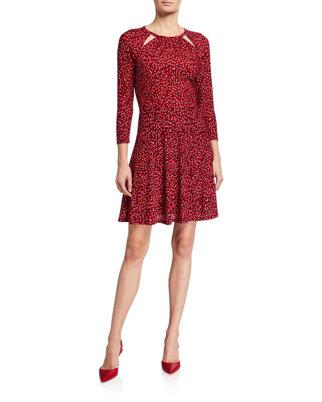 MICHAEL Michael Kors Petal Seersucker 3/4-Sleeve Dress