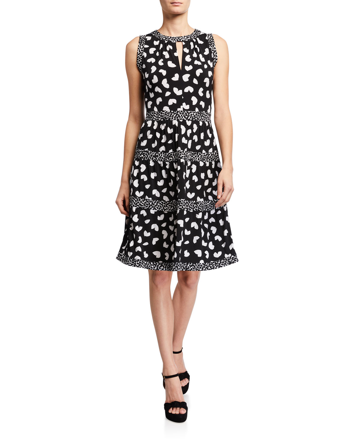 MICHAEL Michael Kors Petal Mix Tiered Sleeveless Dress
