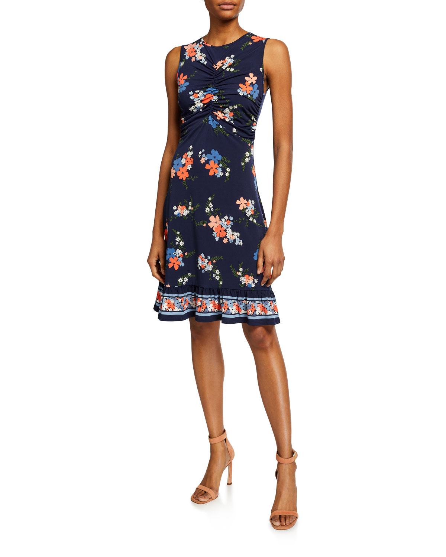 MICHAEL Michael Kors Bloom Ruched-Bodice Sleeveless Mini Dress