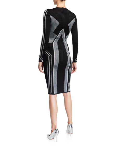 Ted Baker London Graphic Block Long-Sleeve Knitted Bodycon Dress