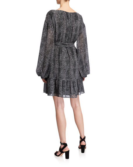MICHAEL Michael Kors Snake-Print Blouson-Sleeve Wrap Dress
