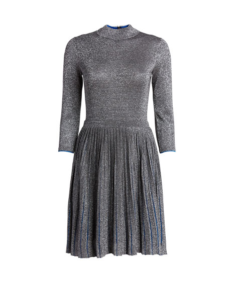 Ted Baker London High-Neck 3/4-Sleeve Metallic Knitted Dress