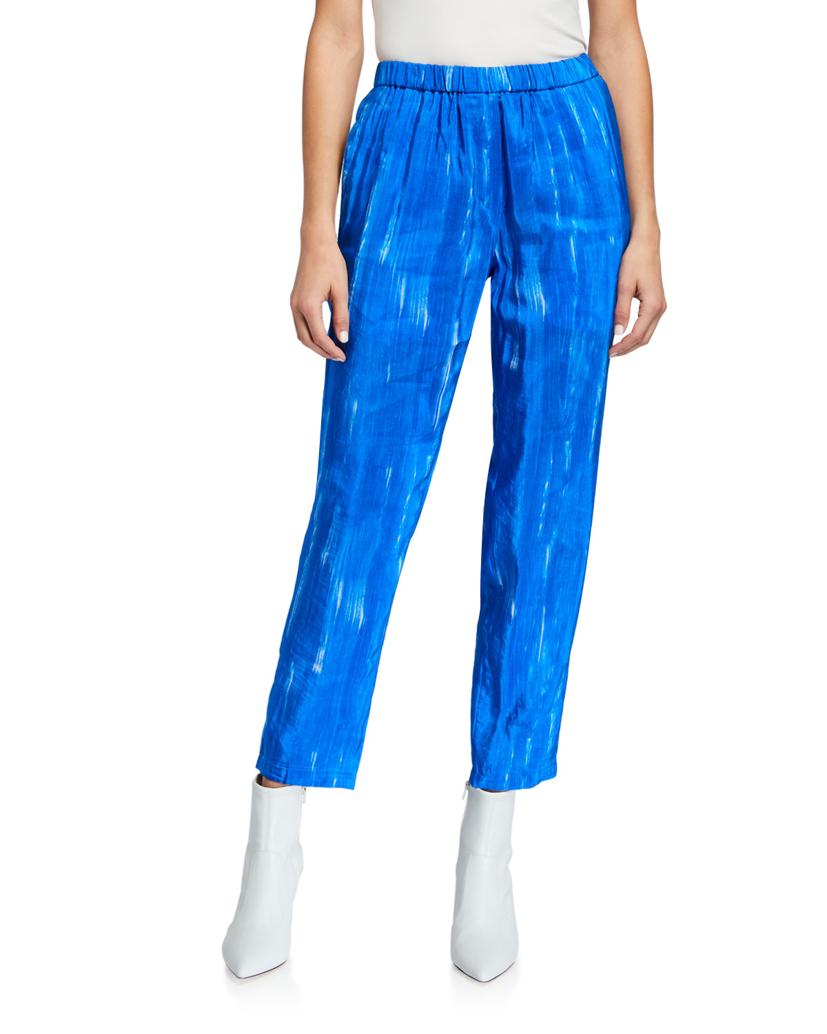 Christian Wijnants Brushstroke Print Elastic Waistband Trousers