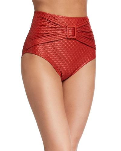 American Textured High-Rise Bikini Bottom