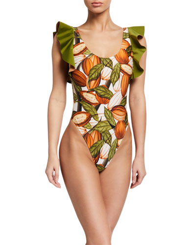 Cacao-Print Ruffle High-Cut One-Piece Swimsuit