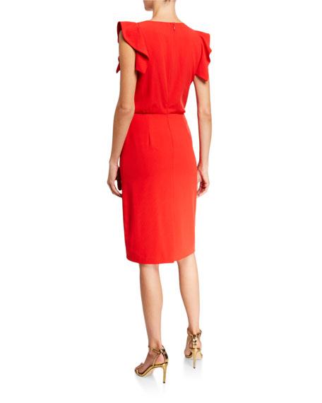 Halston Asymmetric-Neck Sleeveless Stretch Crepe Dress