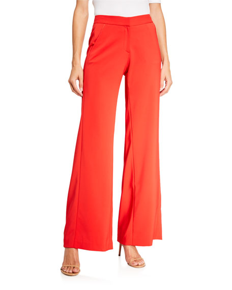 Halston Back Pleat Wide-Leg Crepe Pants