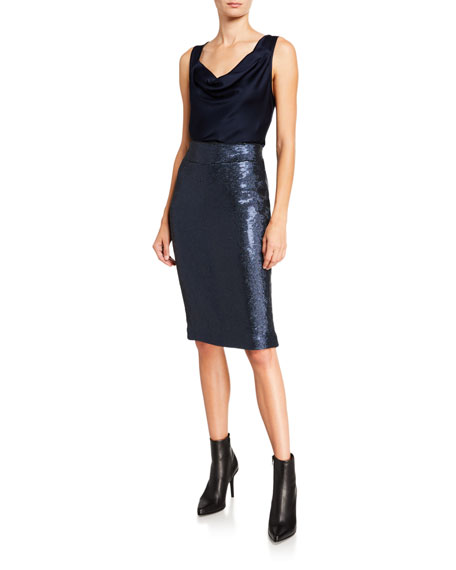Halston Sequined Pencil Skirt