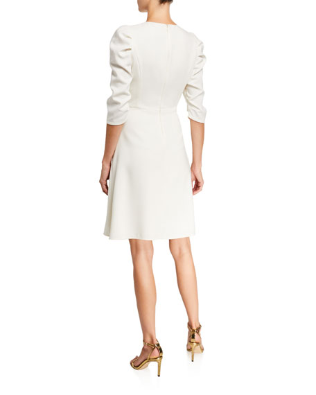 Halston Draped Sleeve Fit-and-Flare Dress