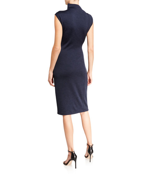Halston Draped Neck Side-Ruched Marled Ponte Dress