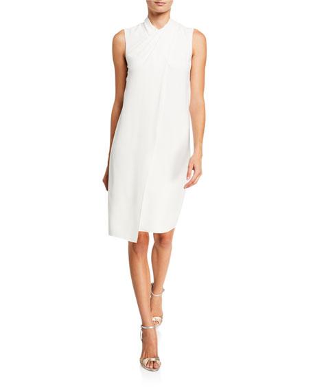 Halston Cross Neck Sleeveless Drape-Front Crepe Dress