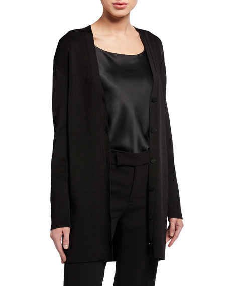 St. John Collection Ribbed Open Front Cardigan