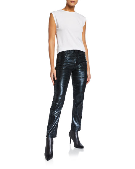 Image 3 of 3: FRAME Le Sylvie Slender Straight Crocodile Coated Jeans