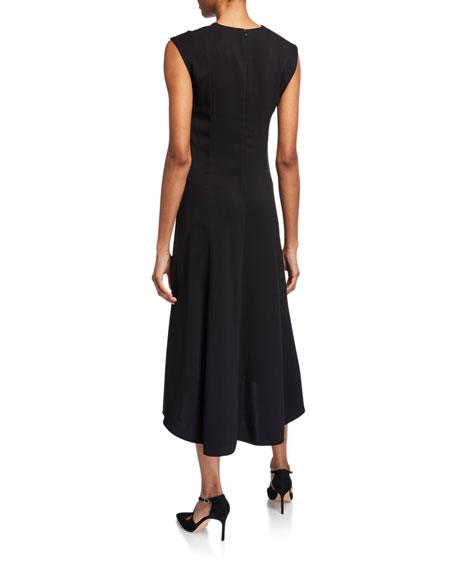St. John Collection Viscose Cady V-Neck Dress