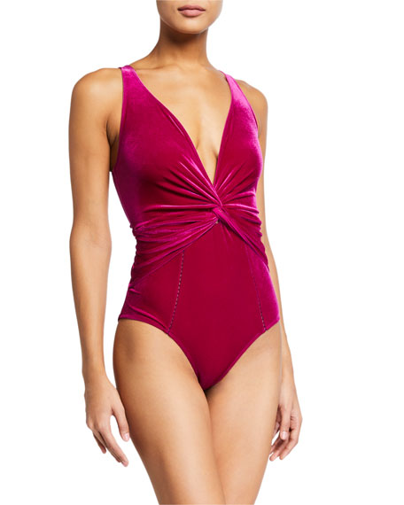Jonathan Simkhai Plunging Velvet Twist One-Piece Swimsuit