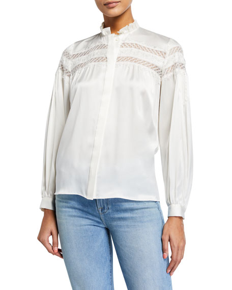 FRAME Paneled Lace Long-Sleeve Silk Blouse