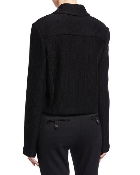 St. John Collection Collared Float Jacquard Jacket w/ Pockets & Back Yoke