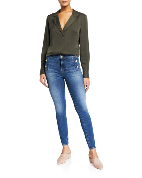 FRAME Le High Skinny Side-Button Jeans