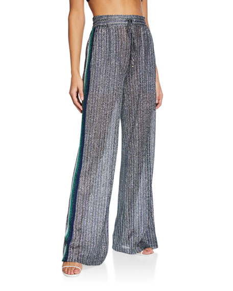 Jonathan Simkhai Metallic Wide-Leg Pants w/ Side Stripes