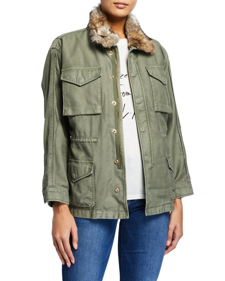 FRAME Service Jacket with Faux Fur