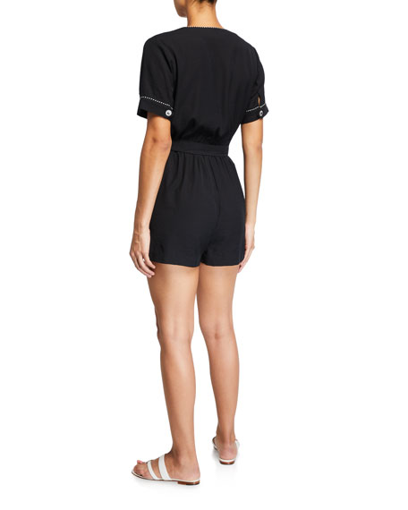 Image 2 of 2: Jonathan Simkhai Piped Luxe V-Neck Coverup Romper