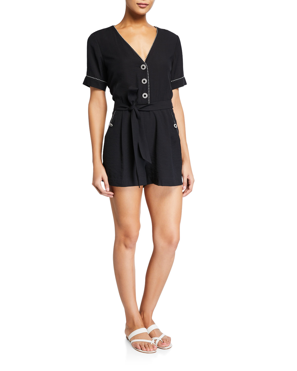 Jonathan Simkhai Piped Luxe V-Neck Coverup Romper