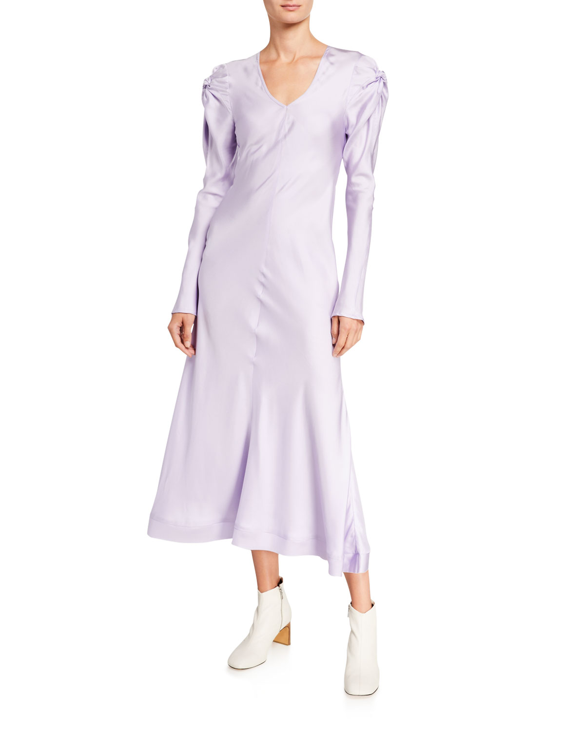 Maggie Marilyn Knot Today Long-Sleeve Silk Dress