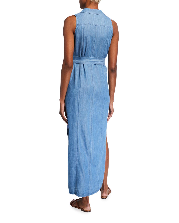 Sleeveless Denim Maxi Shirt Dress