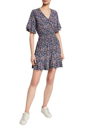 MICHAEL Michael Kors Coral Punch Deep V Short Dress