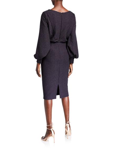 Badgley Mischka Collection Cowl-Neck Blouson Jacquard Sheath Dress
