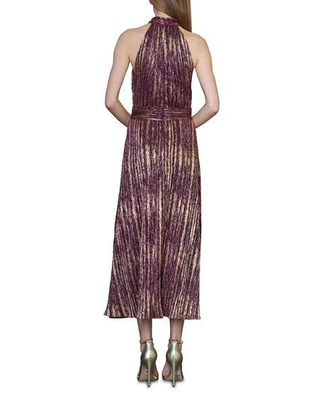 ML Monique Lhuillier Metallic Halter Midi Dress