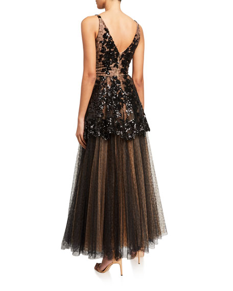Dress The Population Rachelle Sequin Embroidered Cami Gown w/ Tulle Skirt