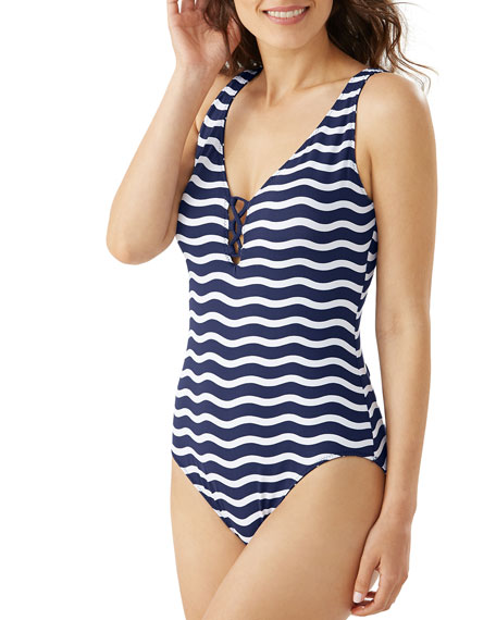 Image 2 of 3: Tommy Bahama Sea Swell Reversible Lace-Back One-Piece Swimsuit