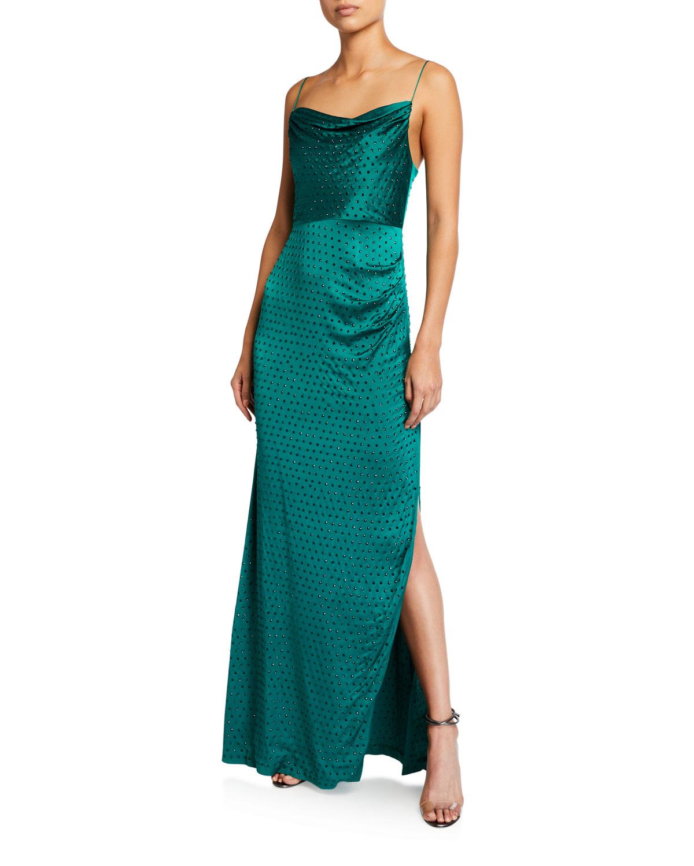 Retrofete Marlene Embellished Cowl-Neck Slit Dress