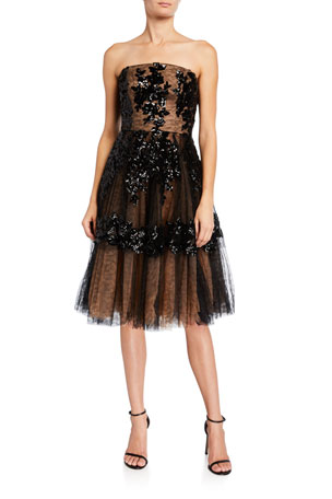 Dress The Population Fae Sequin Floral Embellished Tulle Bustier Dress