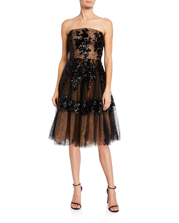Dress The Population Fae Sequin Floral Embellished Tulle Bustier Dress