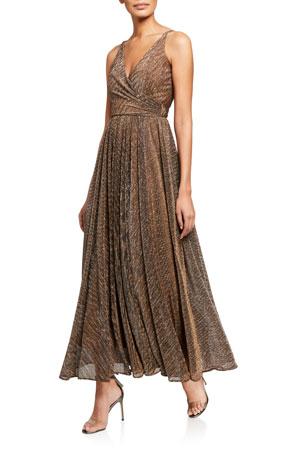 Dress The Population Valentina Metallic Sheer Stripe V-Neck Sleeveless Gown
