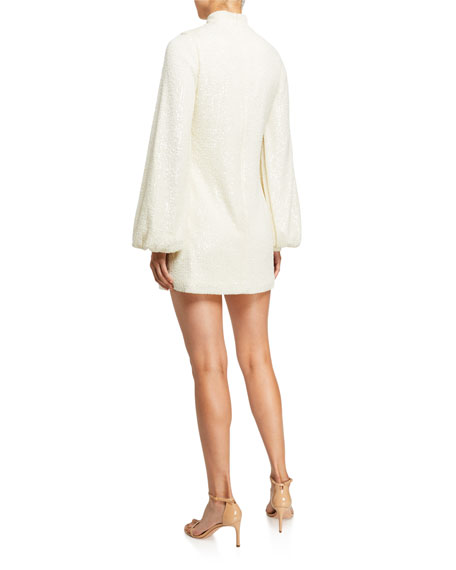 Alexis Lunia Sequined High-Neck Blouson-Sleeve Dress