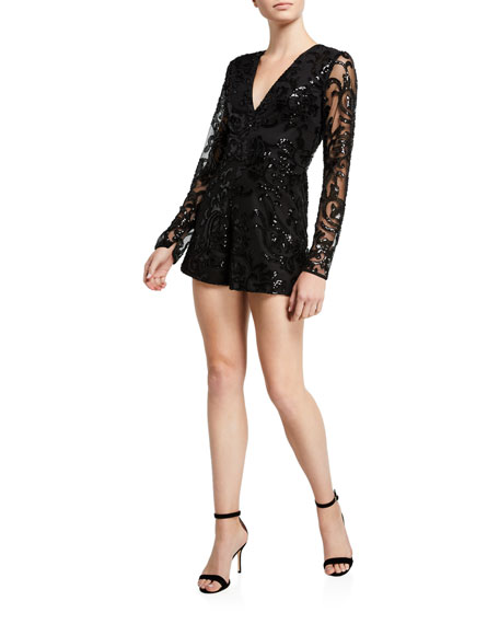 Image 1 of 2: Alexis Riso Sequined Long-Sleeve Romper