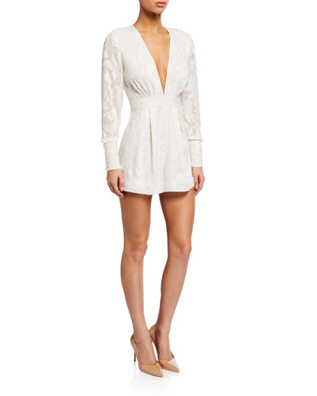 Image 1 of 2: Alexis Theda Plunging Long-Sleeve Romper