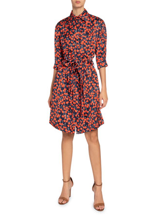 Victoria Victoria Beckham Cherry Print 1/2-Sleeve Shirtdress