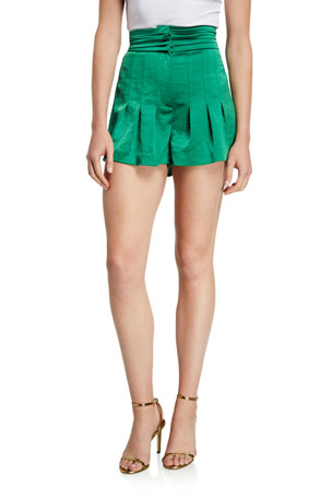 Alexis Lucca Pleated High-Rise Shorts