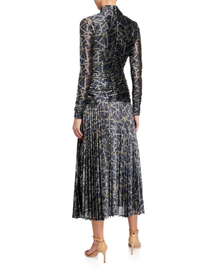 Image 2 of 2: Victoria Victoria Beckham Metallic Pattern Pleated Cocktail Dress