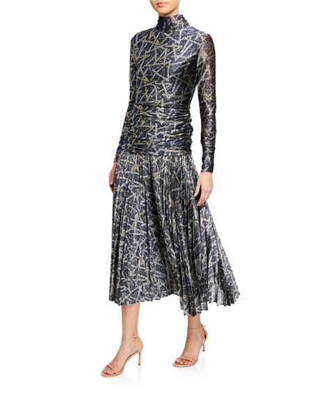 Image 1 of 2: Victoria Victoria Beckham Metallic Pattern Pleated Cocktail Dress