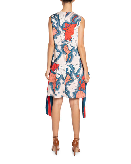 Image 2 of 2: Victoria Victoria Beckham Map-Print Sleeveless Scarf Dress