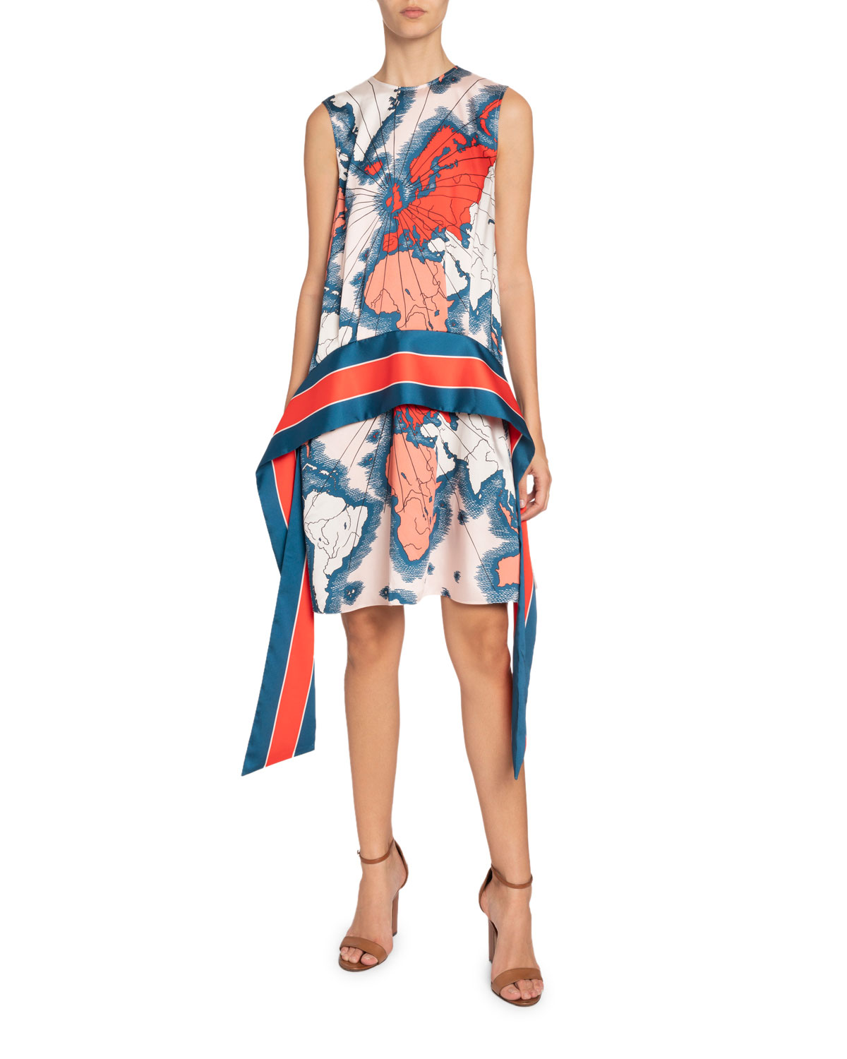 Victoria Victoria Beckham Map-Print Sleeveless Scarf Dress