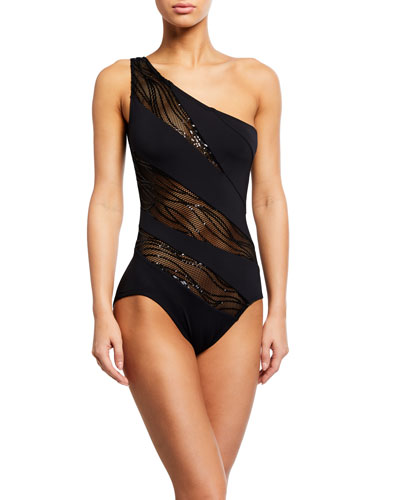 One-Shoulder Mesh Sequined One-Piece Swimsuit