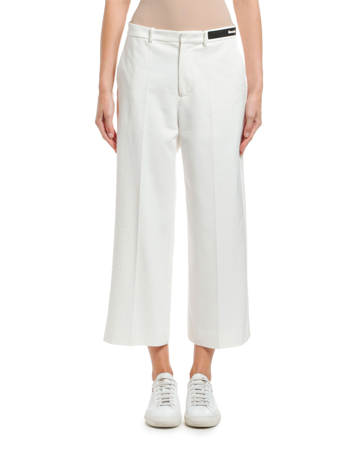 Moncler Cropped Cotton Logo-Waist Pants