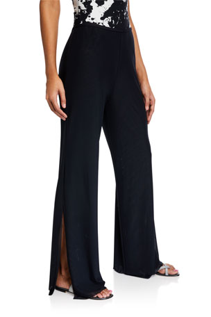 Carmen Marc Valvo Double-Layer Wide-Leg Split Coverup Pants