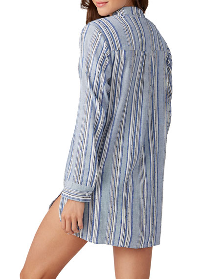 Image 2 of 2: Tommy Bahama Sail Forth Striped Boyfriend Shirt